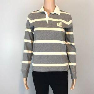 Ralph Lauren grey off white stripe LS Polo shirt